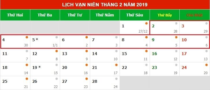 Tết nguyên đán 2019 là ngày nào dương lịch